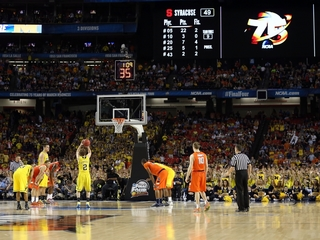 Do Final Four teams shoot worse in big arenas?