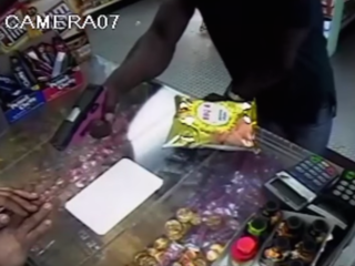 Watch: Men use pink gun to rob Philadelphia shop