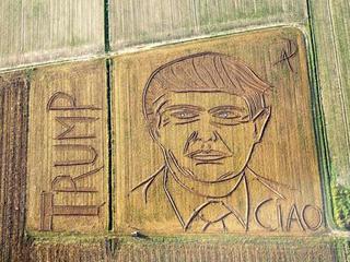 Trump portrait mowed into Italian cornfield