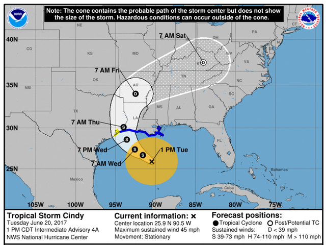 Tropical storm warnings in effect as Cindy gets closer
