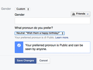 Facebook users can now create their own gender