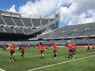 Warming up with US women's soccer team pre-Rio