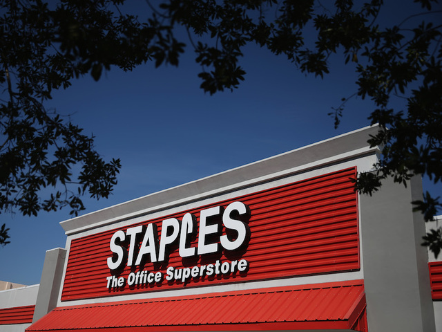 MIAMI, FL   FEBRUARY 03: The Sign Logo For A Staples Store Is Seen On  February 3, 2015 In Miami, Florida. Reports Indicate That Office Depot And  Staples Are ...