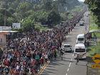 Migrant caravan resumes march north